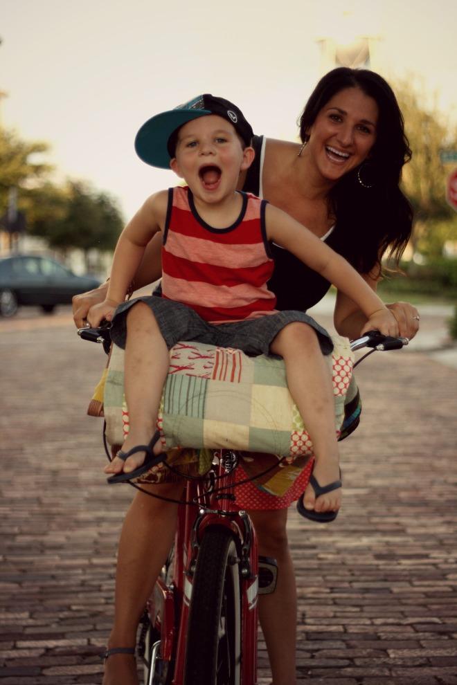 Miles & Mom Same Bike