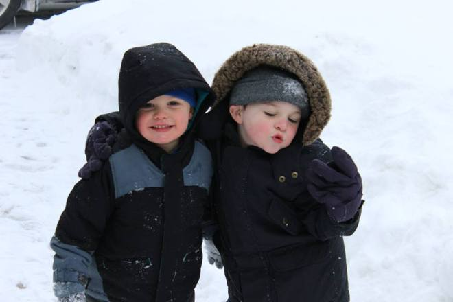 Miles and Eli loving the snow