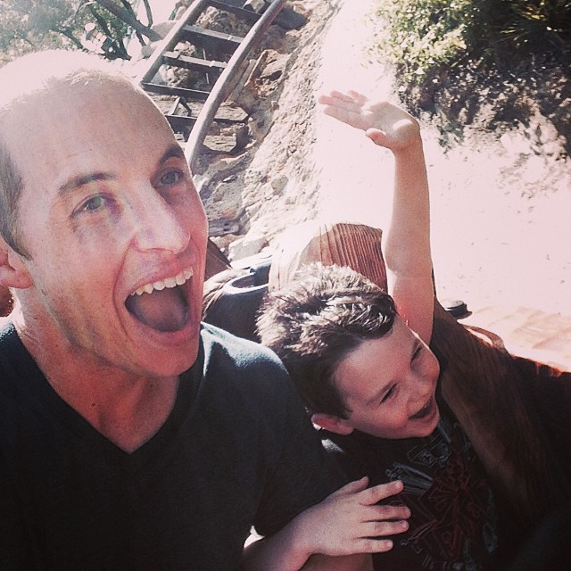 Miles and Dad on Mine Train